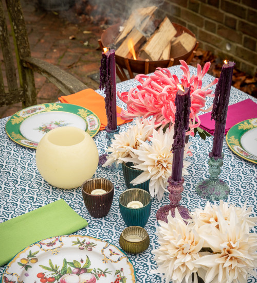 Dark Purple Dinner Candle Set