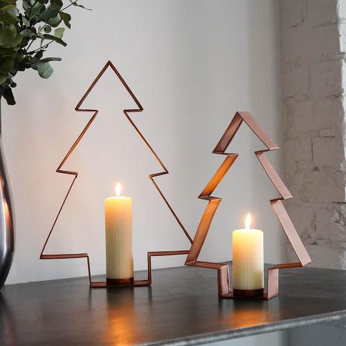 Christmas Tree Pillar Candleholder Set of 2