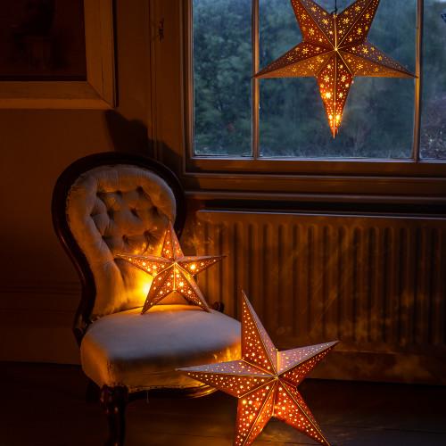 Lit Wooden Star