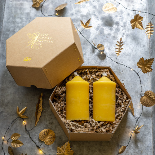 Beeswax Pillar Candle Gift Set