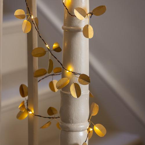 Gold Eucalyptus Lit Garland