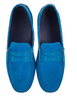 Zelli Monza Sueded Calfskin with Crocodile Trim Teal