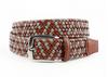 Torino XL Italian Braided Leather & Linen Belt Cognac/Taupe