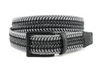 Torino XL Italian Woven Cotton & Leather Belt Grey/Black
