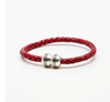 Torino Braided Leather Hemisphere Bracelet Red
