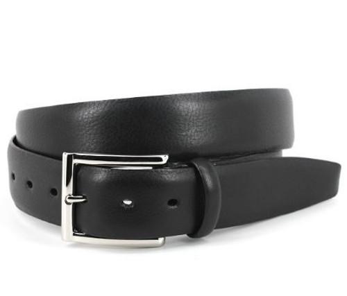 Torino Italian Glazed Milled Calfskin Belt Black