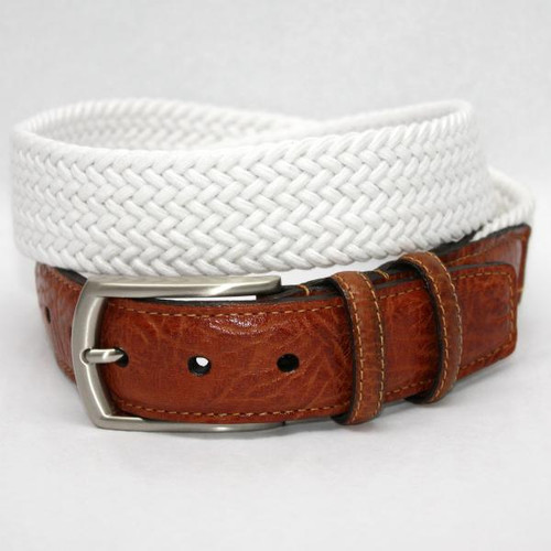 Torino Italian Woven Cotton Elastic Belt White