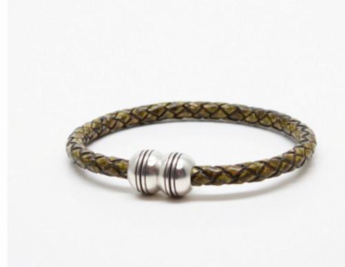 Torino Braided Leather Hemisphere Bracelet Olive