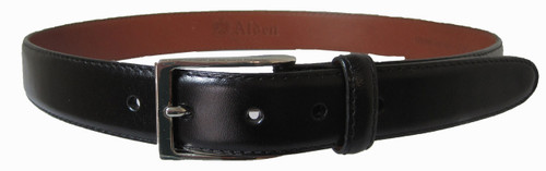 Alden 30mm Black Calfskin Dress Belt With Nickel buckle #0111