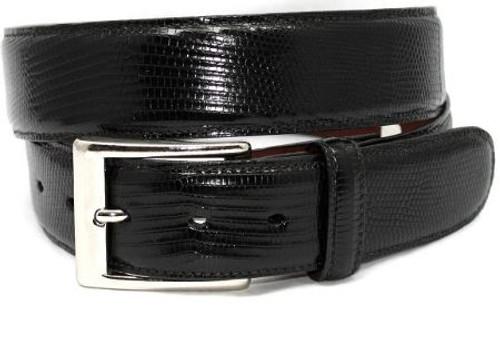 Torino Genuine Lizard Belt Black