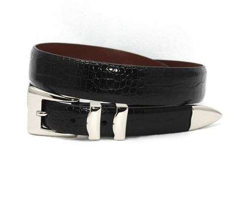 Torino XL Alligator Embossed Calfskin Belt Black