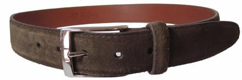 Alden 35 mm Suede Belt Brown/Dark Brown with Nickel Buckle