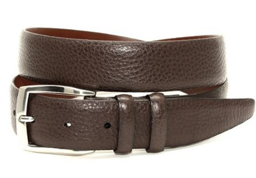 Torino XL Pebble Grained Calfskin Belt Brown