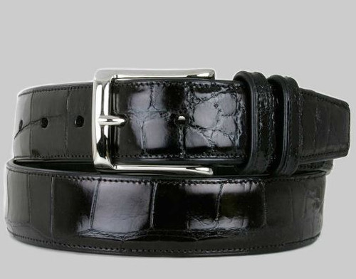 Mezlan Black Genuine Alligator Belt