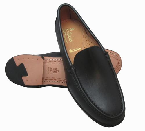 Alden Black Venetian Calfskin Slip On Moccasin #H457