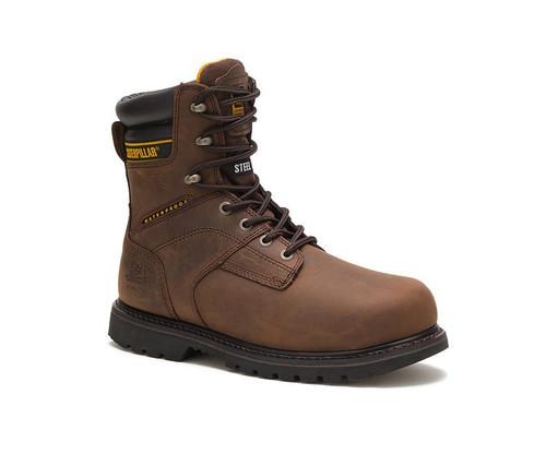 """CAT Footwear Men's Salvo 8"""" Waterproof Thinsulate™ Steel Toe Work Boot Dark Brown"""