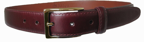 Alden 30mm Calfskin Dress Belt - Burgundy With Gold Buckle #0102