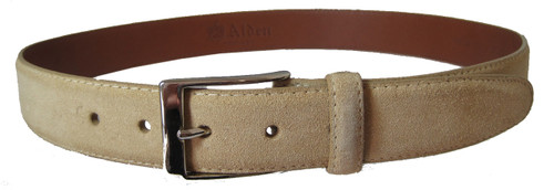 Alden 35 mm Sand Suede Belt  With Nickel Buckle