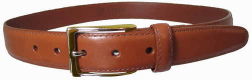 Alden 30mm Calfskin Dress Belt Tan With Gold Buckle #0103