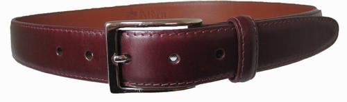 Alden 30mm Calfskin Dress Belt Burgundy with Nickel Buckel #0112