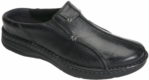 Drew Men's Jackson Tumbled Leather Clog Black