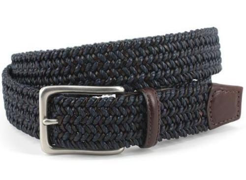 Torino Italian Woven Cotton & Leather Belt Navy/Brown