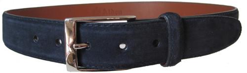 Alden Navy Suede 35 mm Calfskin Belt With Nickel Buckle #5216