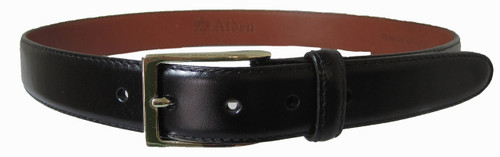 Alden 30mm Black Calfskin Belt with Gold Buckle #0101