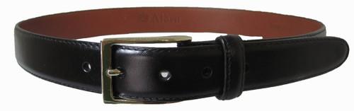 Alden 30mm Black Calfskin Belt with Gold Buckle #0101