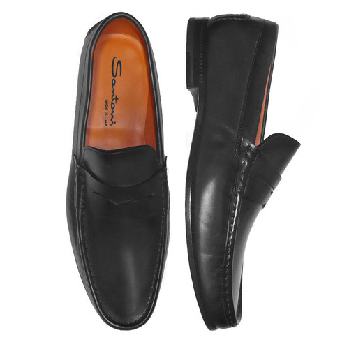 Santoni Fergus Black Dress Penny Slip On