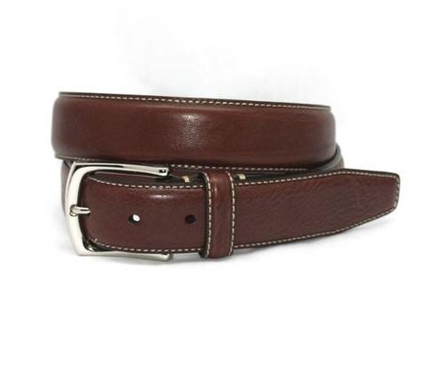 Torino Burnished Tumbled Leather Belt Brown