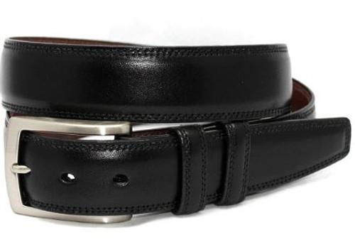 Torino XL Italian Burnished Kipskin Belt Black