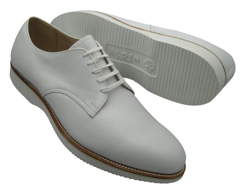 Alden Plain Toe Blucher Oxford White Comfort Oxford
