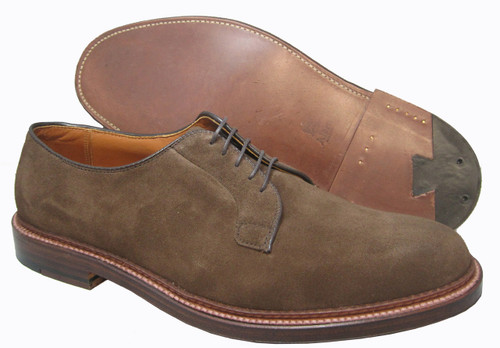 Alden Plain Toe Blucher Dark Brown Suede  #9503