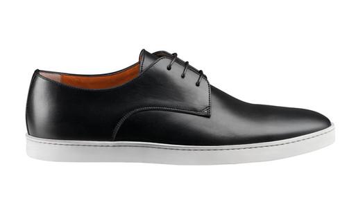 SANTONI DOYLE PLAIN TOE LACE-UP Black CALFSKIN w/ white sole