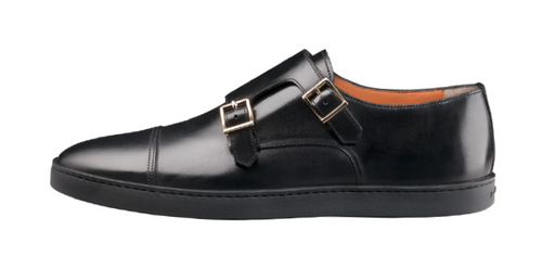 Santoni Donato Double Buckle Monk strap slip on Black