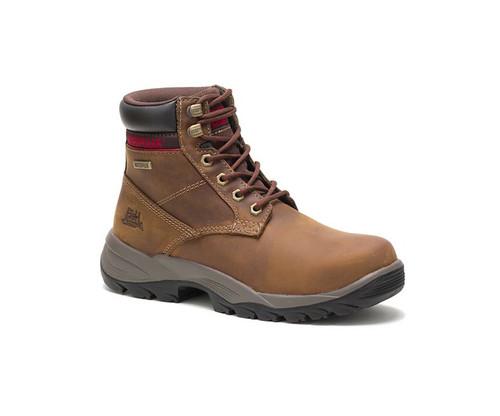 """CAT Footwear Women's Dryverse 6"""" Waterproof Soft Toe Work Boot Dark Beige"""