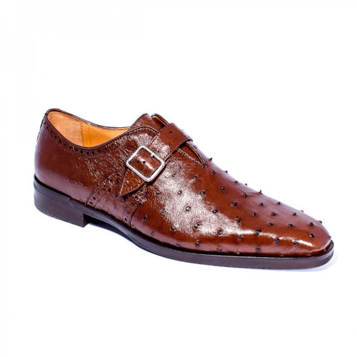 Zelli Antonio Ostrich Monk Strap Brown