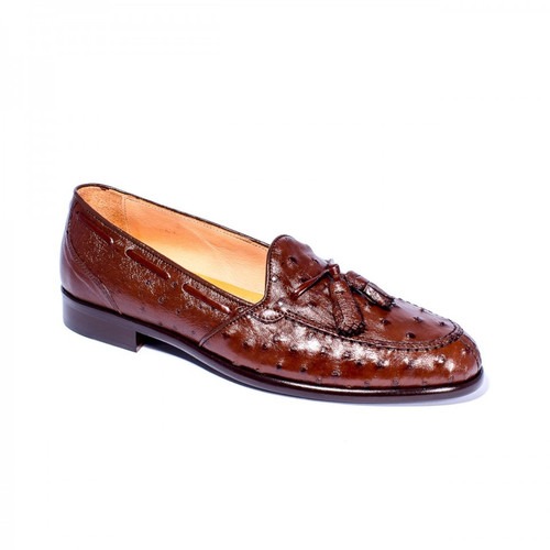 Zelli Franco Ostrich Quill Tassel Loafer Brown