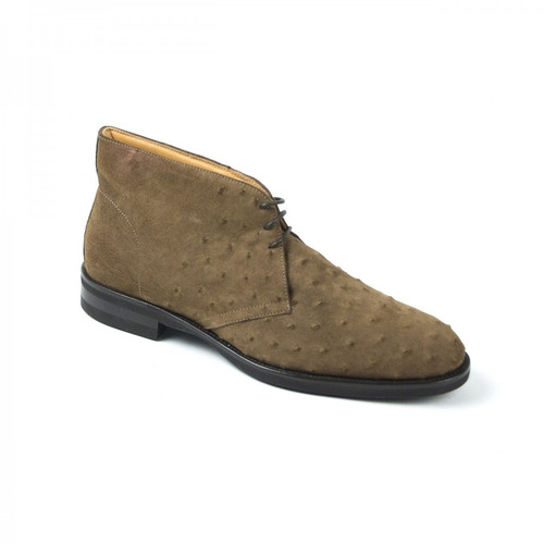 Zelli Marco Sueded Ostrich Chukka Boot Brown