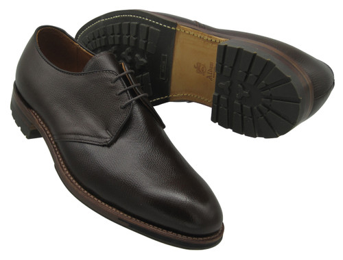 ALDEN Dutton THREE EYELET BLUCHER OXFORD W/ COMMANDO SOLE Dark Brown Alpine Grain Calf # 941C