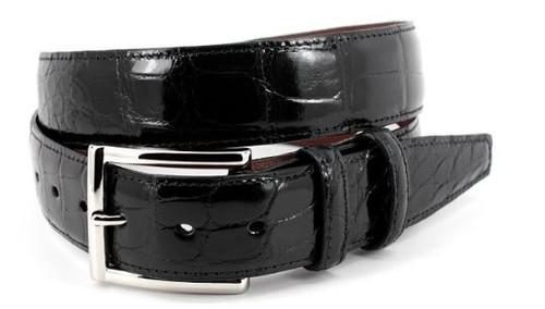 Torino Genuine Glazed American Alligator Belt Black