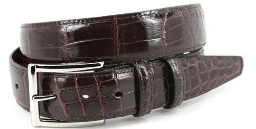 Torino Genuine Glazed American Alligator Belt Brown