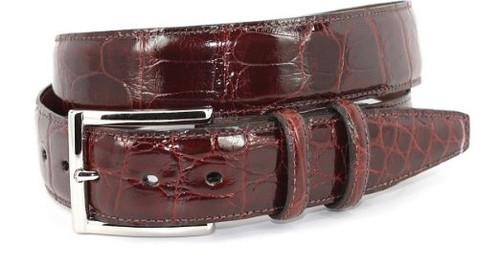 Torino Genuine Glazed American Alligator Belt Dark Cognac
