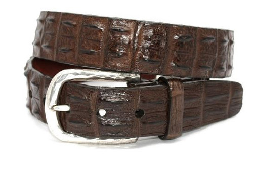 Torino Genuine Hornback Crocodile Belt Brown
