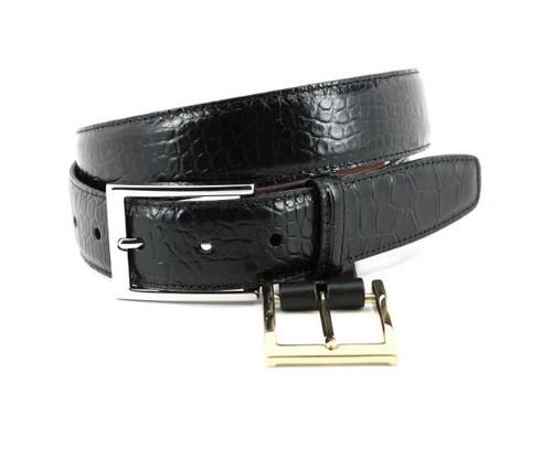 Torino Alligator Grain Embossed Calfskin Belt Black