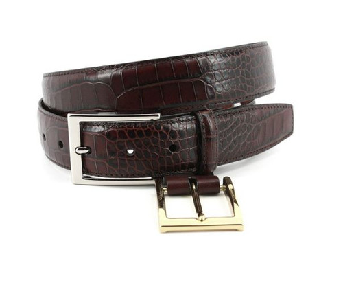 Torino Alligator Grain Embossed Calfskin Belt Brown