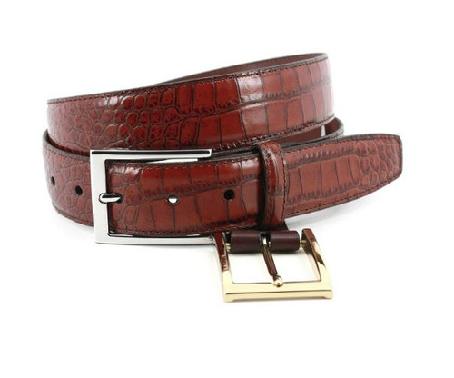 Torino Alligator Grain Embossed Calfskin Belt Cognac