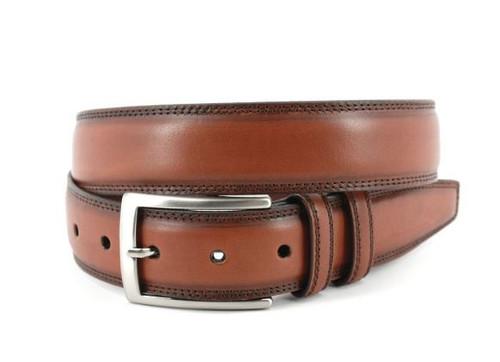 Torino Hand Stained Italian Kipskin Belt Walnut