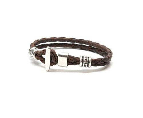 Torino Braided Leather Phoenix Bracelet Vintage Brown